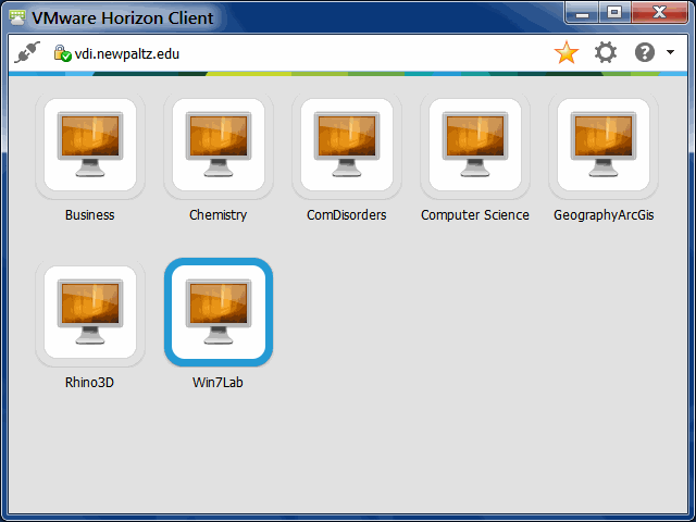 The VDI program showing desktop choices