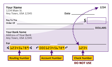 Check showing location of routing number