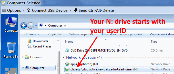 The N: drive shows in the Computer folder with your user ID