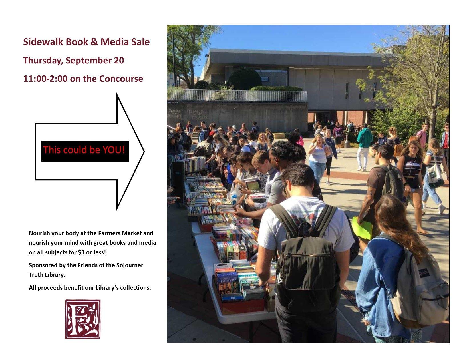 Sidewalk Book and Media Sale–September 20  11:00-2:00