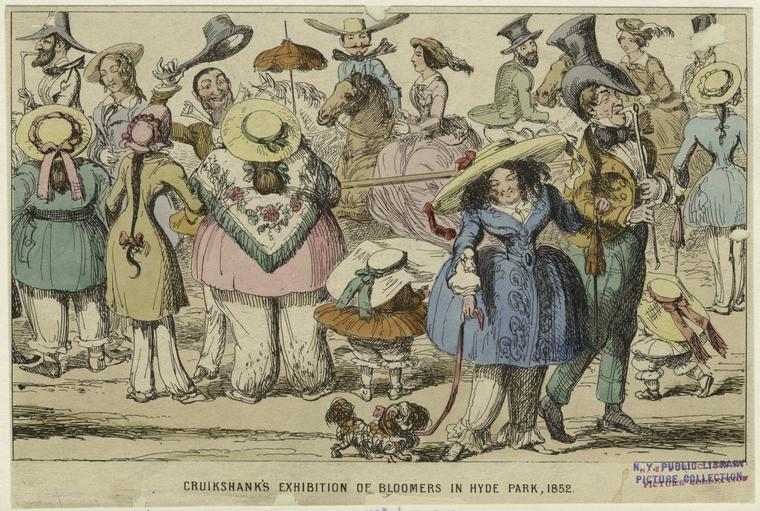 Cruikshank'S Exhibition Of Bloomers In Hyde Park, 1852.