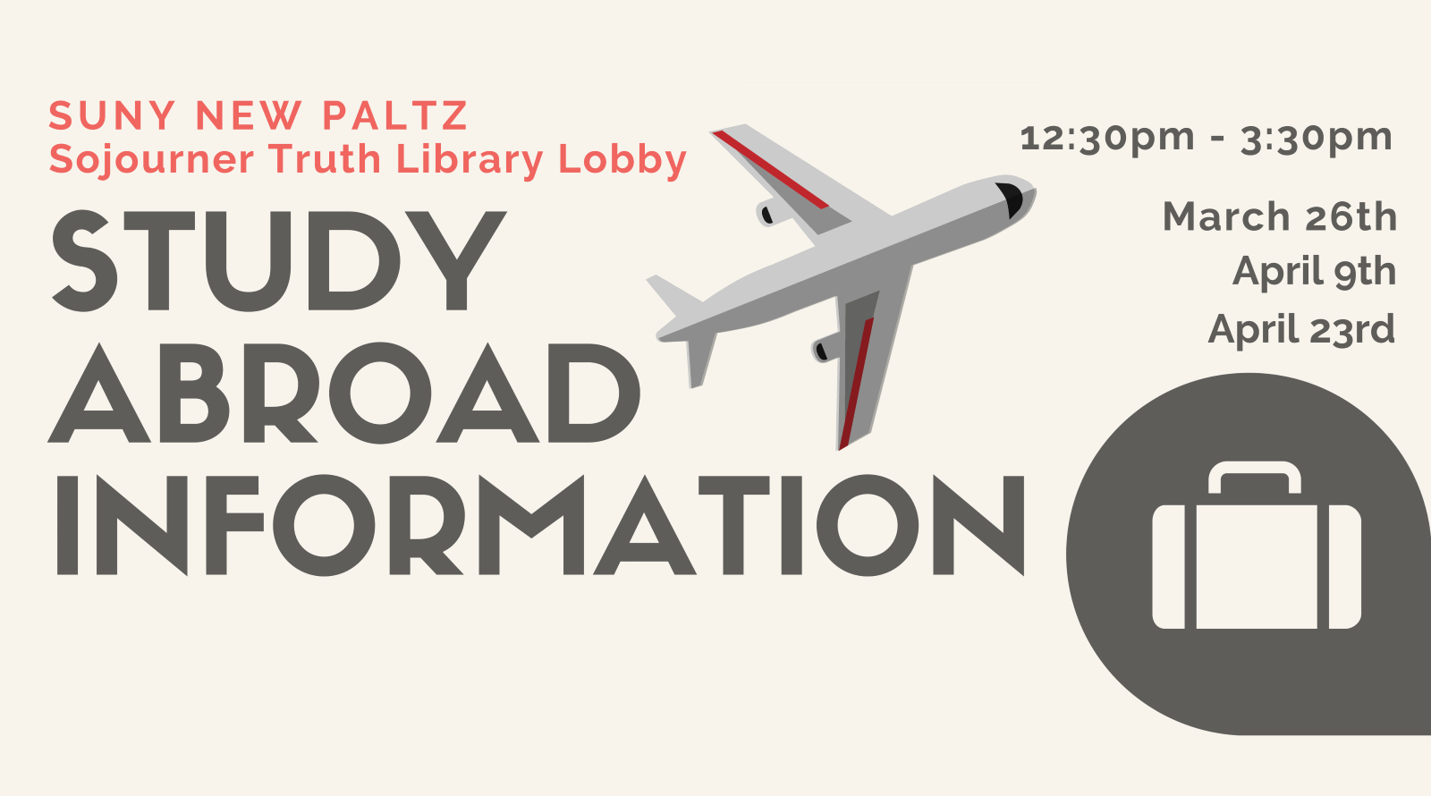 Study Abroad Information in the Library Lobby